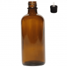A pack of 6 empty 100ml Amber Glass Bottles with dripulator caps.